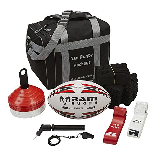 Ram Tag Rugby Package - Includes Tag Belts, Rugby Ball, Pump, Whistle, Cones and Carry Bag - 3 (4) from Ram