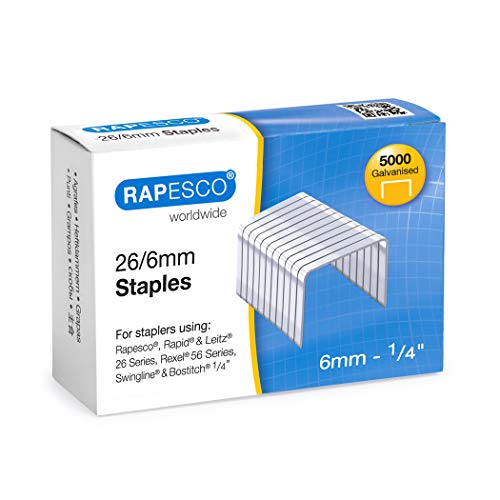 Rapesco S11662Z3 Galvanised Staples 26/6 mm - Box of 5,000, Silver from Rapesco