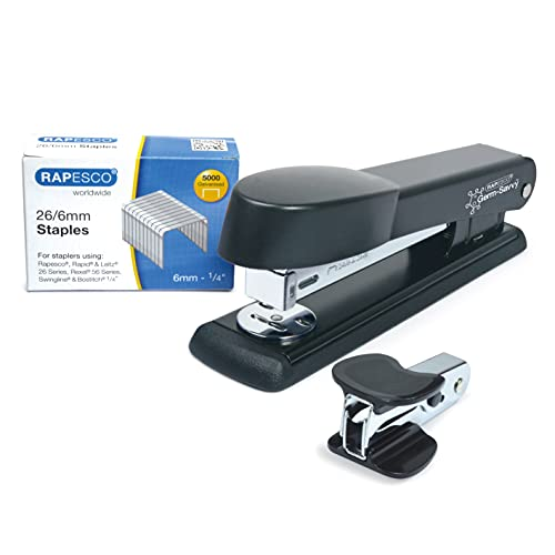 Rapesco 1471 Marlin Stapler with Staple Remover and 26/6 mm Staples B/5000, Black - Bundle from Rapesco