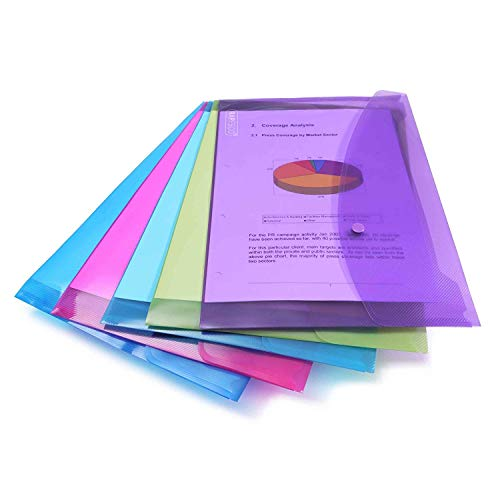 Rapesco 0688 A4/Foolscap Plastic Popper Wallet, Transparent Assorted Colours, Pack of 5 from Rapesco