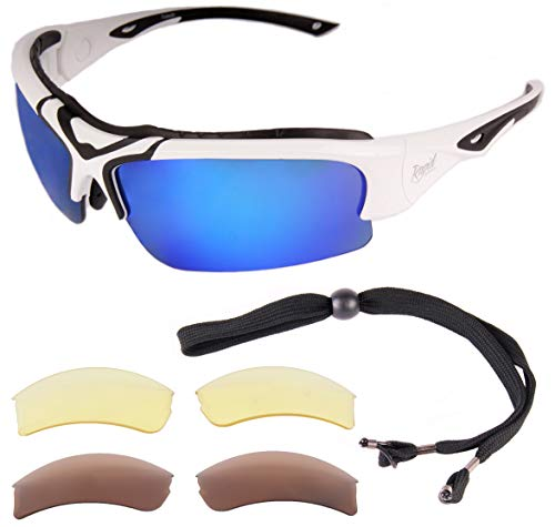 6ddb6298b3 Rapid Eyewear Toledo White Adjustable POLARIZED SPORTS SUNGLASSES with  Interchangeable Lenses for Men and Women.
