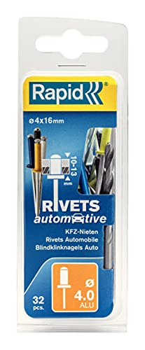 Rapid Rivets Automotive Including Drill Bit, Blue, Yellow, Black and White, 4 x 16 mm, 5000403 - 32 Pieces from Rapid