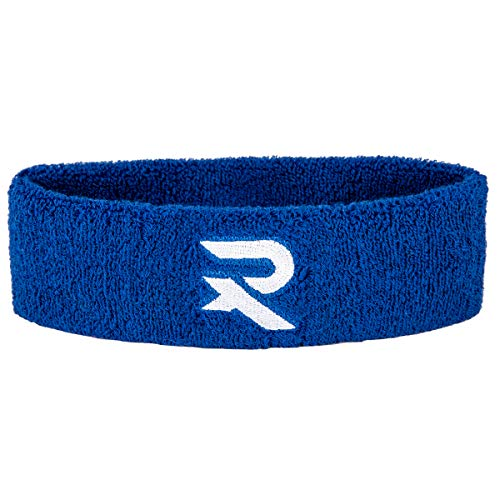 Raquex Cotton Headband - Blue/Black Colours - Sweat bands made specifically for squash, tennis, badminton and racket/racquet sports. Cotton stretchy material, snug fit (Blue) from Raquex