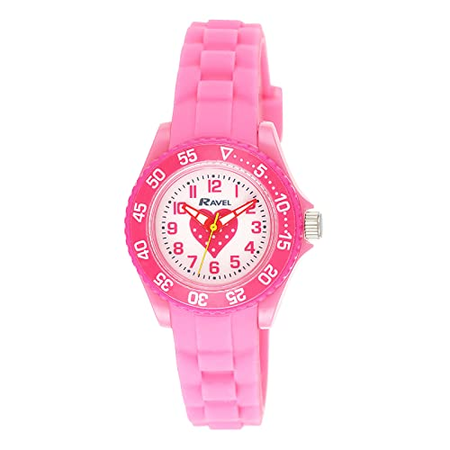 RAVEL Girls Analogue Pink Heart Quartz Watch with Silicone Strap R1807.05 from Ravel
