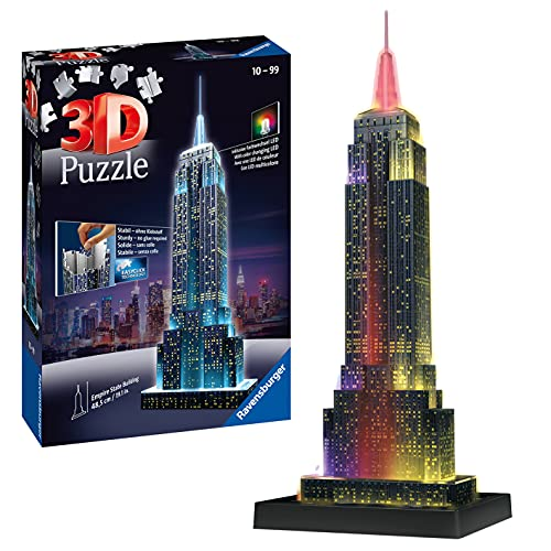 Ravensburger 12566 1 Empire State Building Night Edition 3D Jigsaw Puzzle, 216 parts, Multicolor from Ravensburger