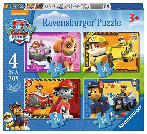Ravensburger 7033 Paw Patrol 4 in a Box (12, 16, 20, 24pc) Jigsaw Puzzles, Multicoloured from Ravensburger