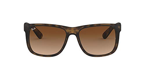 Ray-Ban RB4165 Justin Rectangular Non-Polarized Sunglasses, Brown (710/13 Light Havana ) from Ray-Ban