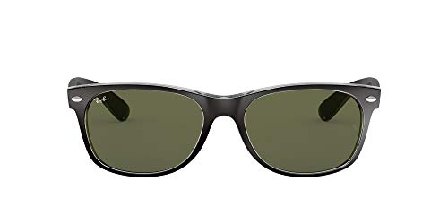 Ray-Ban Unisex-Adults New Wayfarer Ray-Ban New Wayfarer RB 2132 52 6052 Black Transparent Sunglasses,52 mm from Ray-Ban