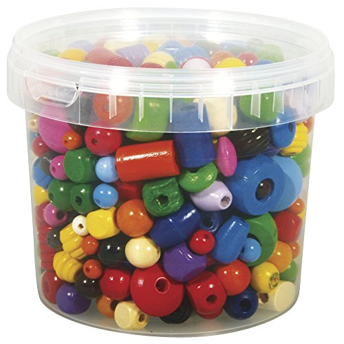 Rayher 1209500 Wood Beads Coloured, 4–16 MM diameter 380g Tin from Rayher