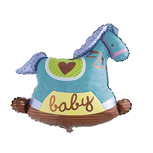 Rayher Foil Balloon Rocking Horse, Baby Blue, 21 x 13 x 2 cm from Rayher
