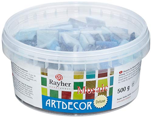 Rayher Mosaic stones ArtDecor Deluxe, 2cm, bucket, approx. 160 pcs, 500 g, light blue, Acrylic, 13.3 x 13.3 x 6.4 cm from Rayher