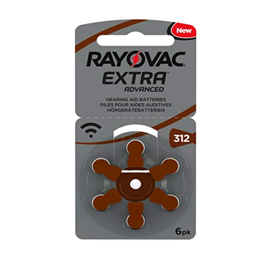 Rayovac Extra Advanced Hearing Aid Batteries, Size 312, Brown Tab, PR41, Pack of 60 from Varta