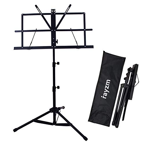 Rayzm Sheet Music Book Stand,Sturdy Portable Folding Metal Stand with Carrying Bag, Adjustable Heights, Max Load Weight 1.5kgs, Lightweight & Compact for Storage or Travel from Rayzm