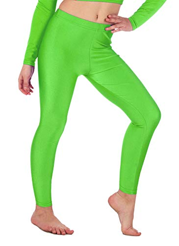 Kids Girls Gymnastic Shiny Dance Leggings Neon Footless Ballet Stretch Elasticated Childrens Lycra Tights (11-12 Years, Neon Green) from Re Tech UK