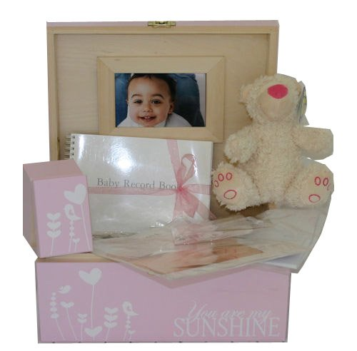 Girls Large Pink Wooden Decorative Baby Keepsake or Memory Box Gift Sets. Newborn or Maternity Presents. from Read's Creations