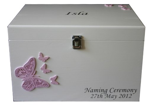 Girls Large White Wooden Keepsake or Memory Box with frame for babies - Decorations of Pink Butterflies, Personalised with names/date etc. New Baby, Christening, Naming Ceremony or Baptism Gift from Read's Creations