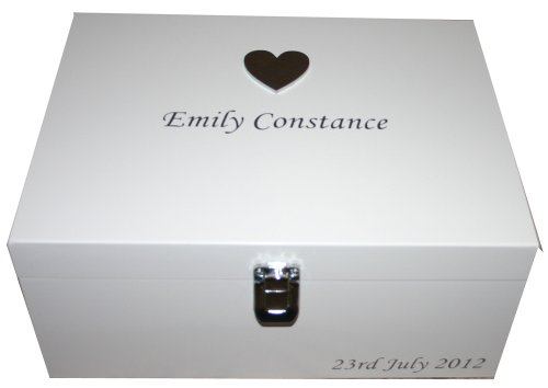 Personalised White Large Wooden Keepsake or Memory Storage Boxes - Christening, Naming Ceremony, Baby Shower, Birthday or Baptism Gifts for Girls from Read's Creations
