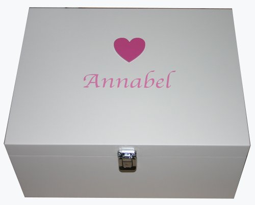 Personalised White Large Wooden Keepsake or Memory Storage Boxes with Pink Heart - Christening, Naming Ceremony, Baby Shower, Birthday or Baptism Gifts for Girls from Read's Creations