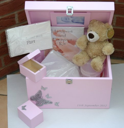 Personalised XL Luxury Wooden Keepsake Boxes Gift Set 1 for a Girl in Pink - Gifts for Christening, Naming Ceremony, Baptism, or New Mum from Read's Creations