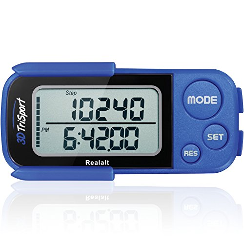Realalt 3DTriSport 3D Pedometer, Accurate Step Counter with Clip and Strap (Blue) from Realalt