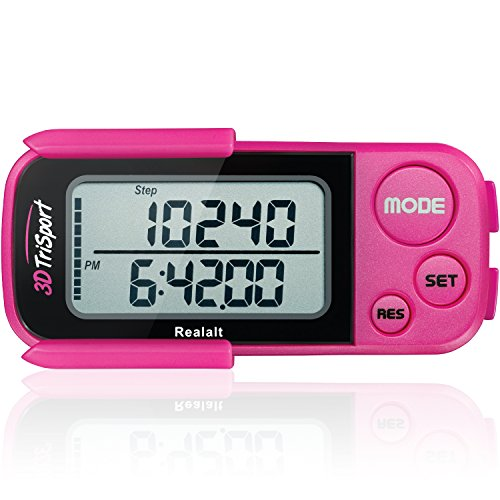 Realalt 3DTriSport 3D Pedometer, Accurate Step Counter with Clip and Strap (Magenta) from Realalt
