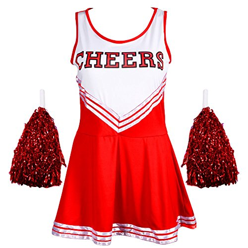 Ladies REDSTAR Cheerleader Costume Outfit With Pom Poms - Fancy Dress Costume Sports High School Halloween - 6 Colours / Size 6-16 from Red Star