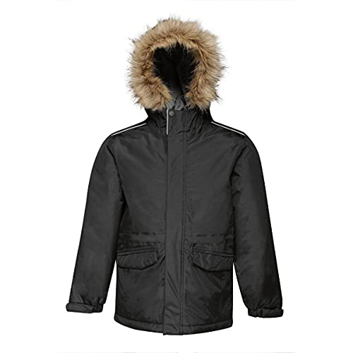 Regatta Professional Kids Cadet Waterproof Insulated Faux Fur Hooded Parka Jacket with Safety Reflective Detail Black (Seal Grey), Size: 5-6 from Regatta
