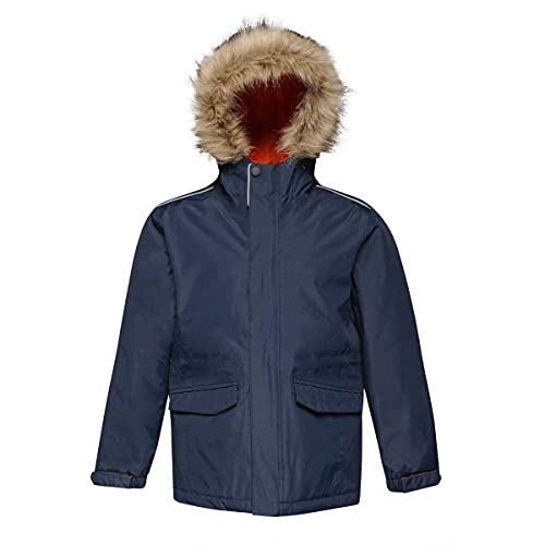 Regatta Professional Kids Cadet Waterproof Insulated Faux Fur Hooded Parka Jacket with Safety Reflective Detail Navy (Magma), Size: 11-12 from Regatta