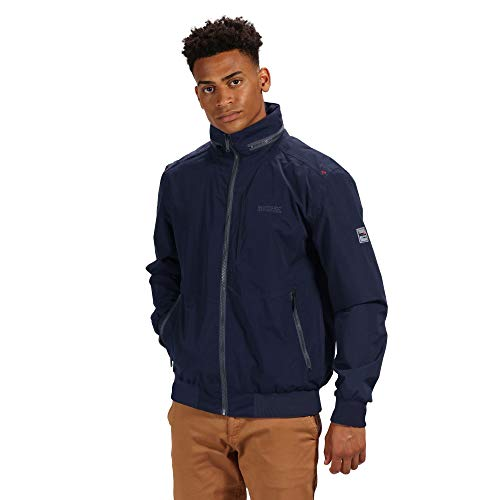 c8497fed7a6f24 Regatta Men's Maxfield Waterproof and Breathable Hooded Outdoor Bomber  Style Jacket, Navy, Size S
