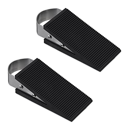 Relaxdays Two Piece Doorstop Set Stainless Steel Silver/Black from Relaxdays