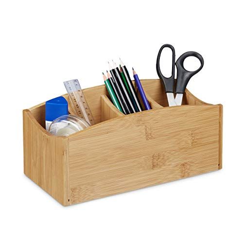 Relaxdays Bamboo Desk Organiser, Pencil Holder with 4 Compartments, Wood Grain, Size: ca 11.5 x 26 x 13 cm, Natural Brown, 13 x 26 x 11.5 cm from Relaxdays