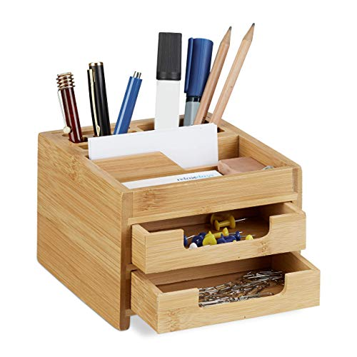 Relaxdays Bamboo Desk Organizer, Stationery Pen Holder, Office File Sorter with Drawer, HxWxD: 9.5 x 12.5 x 15 cm, Natural from Relaxdays