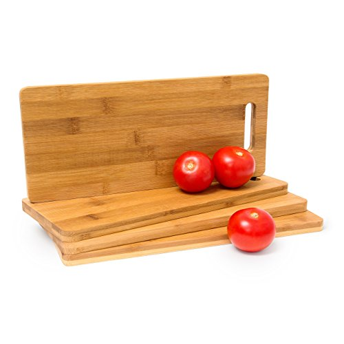 Relaxdays Cutting Board Bamboo With Handle: 1.5 x 35 x 15 cm also as Breakfast Or Serving Boards Set of 4 Wooden Chopping Kitchen Double-Sided Four Blade-Protective Boards, Natural Brown from Relaxdays