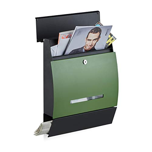 Relaxdays Design Letterbox with Newspaper Slot, Powdercoated, HxWxD: 45 x 35 x 11 cm, Wall-Mount Mailbox, Black-Green from Relaxdays