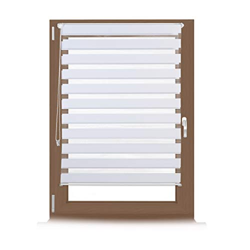 Relaxdays Double Blinds, Klemmfix without Drilling, Side-Pull Shades, Duo Roller Blinds for Windows, Fabric, 110x150 cm, White from Relaxdays