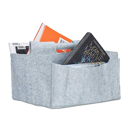 Relaxdays Felt Newspaper Basket, HxWxD: 22 x 32 x 99 cm, 2 Compartments, 1 Handle, Foldable Magazine Holder, Grey from Relaxdays