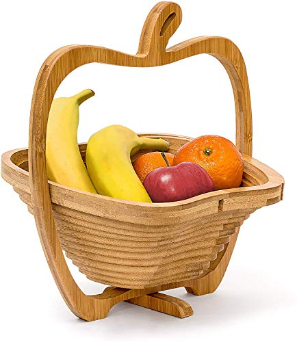 Relaxdays Foldable Apple-Shaped Basket: 30 x 27 x 22.5 cm Folding Bamboo Fruit Bowl Holder Basket And Cutting Board Wooden Fruit Bowl With An Apple-Design, Natural Brown from Relaxdays