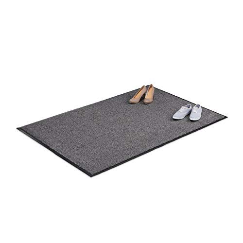 Relaxdays Grey Dirt Trapping Mat, Indoor Doormat, Large Dirt Catcher, Thin Door Mat, 120x180 cm, Black-Grey from Relaxdays