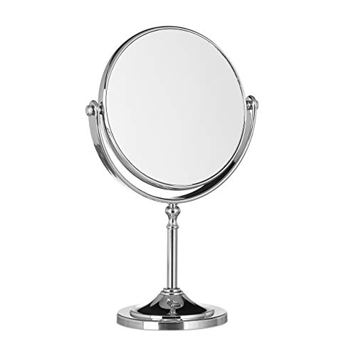 Relaxdays Magnifying Vanity Mirror, Round Standing Makeup Mirror, Cosmetics, Two-Sided, HWD: 28x18x10cm, Silver from Relaxdays
