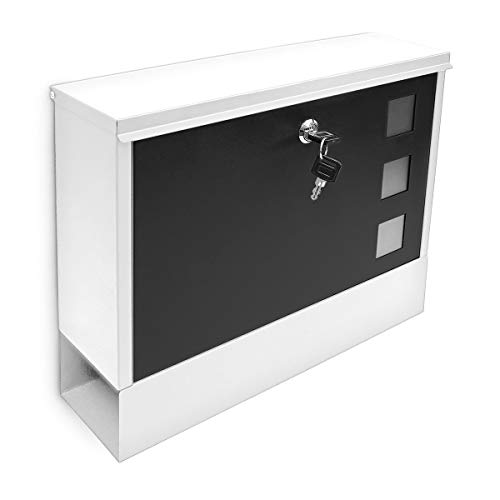Relaxdays Modern Two Coloured Mailbox Letterbox Lockable with Two Keys and Newspaper Slot, White-Black from Relaxdays