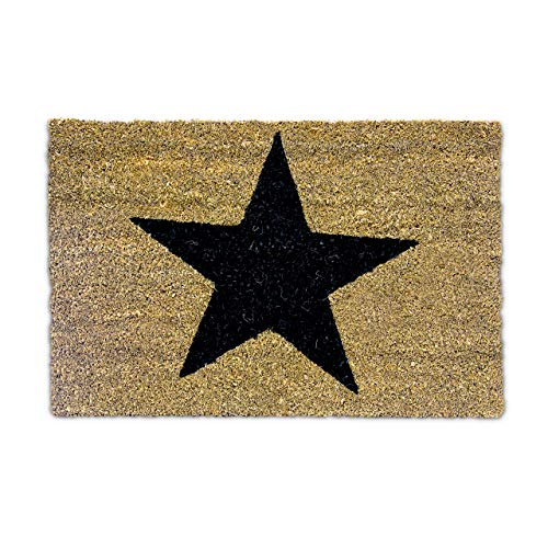 Relaxdays Natural Coconut Fibre Coir STAR Doormat Door Mat Welcome Mat w/ Anti-Slip Rubber PVC Underside, Brown from Relaxdays