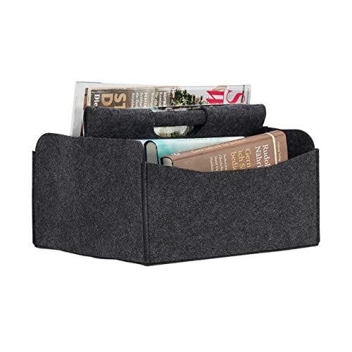 Relaxdays Felt Newspaper Basket, HxWxD: 22 x 31 x 29 cm, 2 Compartments, 1 Handle, Foldable Magazine Holder, Dark Grey from Relaxdays