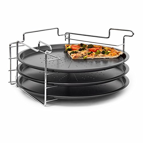 Relaxdays Non-Stick Pizza Baking Set 3 Pans With Holder Oven Cook Bake Pizza Rack Trays, 33 cm diameter, Grey from Relaxdays