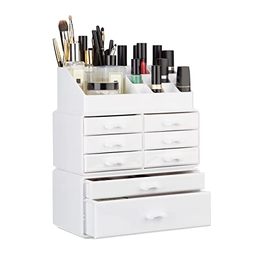 Relaxdays Organizer with Drawers, Stacking Makeup and Jewellery Box, Acrylic Cosmetic Kit, White, 14 x 24 x 30 cm from Relaxdays