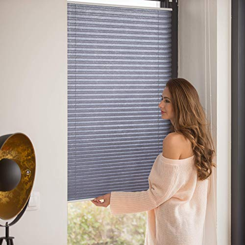 Relaxdays Pleated Blinds, No-Drilling, Adhesive Klemmfix, Folding Roller, Transparent, Shades, Grey, 90 x 130 cm from Relaxdays