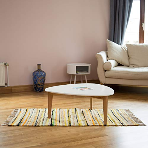 Relaxdays Rag Rug 70 x 140 cm with Fringes Made of Polyester and Cotton, Multi-Colour, Bath Mat, Yellow from Relaxdays