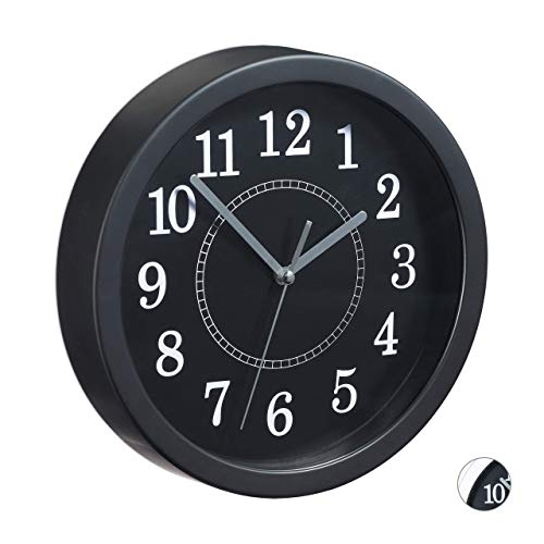 Relaxdays Round, Ø 20cm, Hanging Wall Clock, Classic Design, Battery-Operated, Black, D x Depth: app. 20 x 4 cm from Relaxdays
