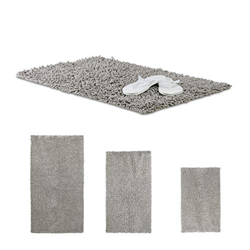 Relaxdays Shaggy Bathmat, Hand-Made Cotton Bathroom Mat, Non-Slip Bath Mat, 80 x 50 cm, Grey from Relaxdays