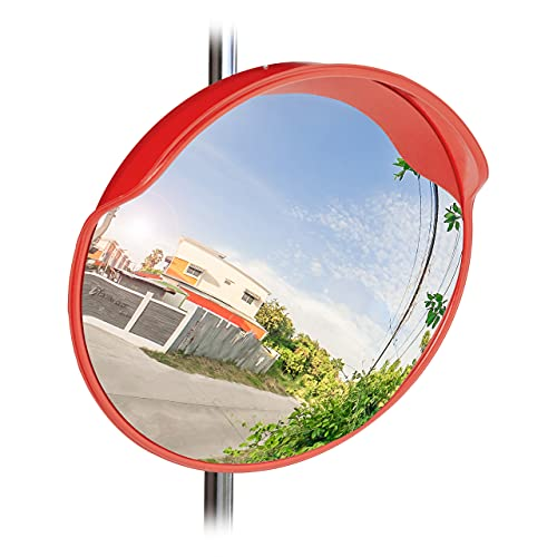 Relaxdays 10023700 Traffic Safety Mirror, 60 cm, Weatherproof, Unbreakable with Mount, Wide Angle Mirror for In- & Outdoors, Red from Relaxdays