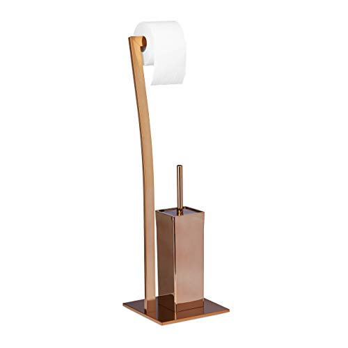 Relaxdays WIMEDO Toilet Brush and Holder, Size: 71 x 20 x 20 cm Toilet Paper Holder in Stainless Steel, Standing, Copper from Relaxdays